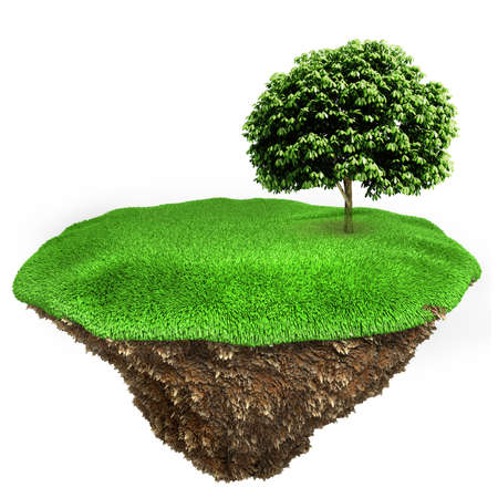 3d tree on a little piece of land island with fresh green grass photo