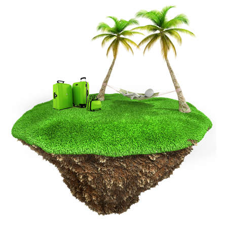 3d man relaxing on a little piece of land with fresh green grass on white background photo