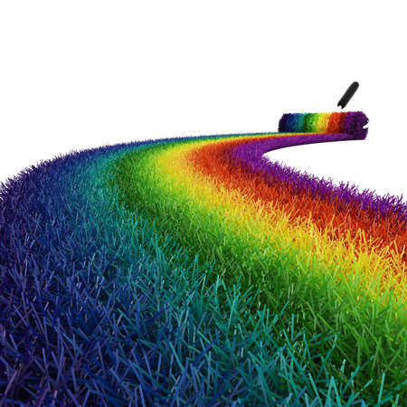 3d colorful grass on white background photo