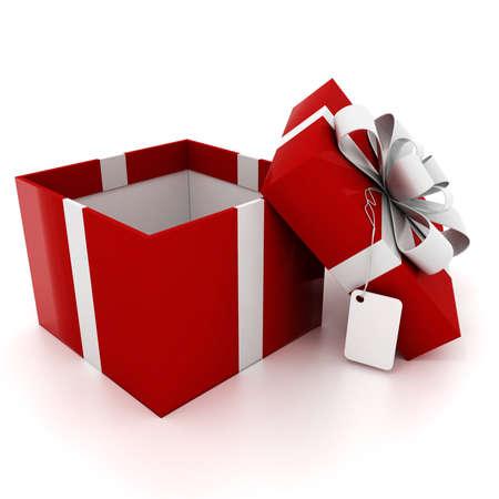 3d present box on white background photo