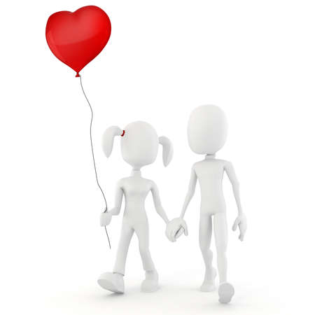 man in air: 3d man  Valentine concept Love is in the air! Stock Photo
