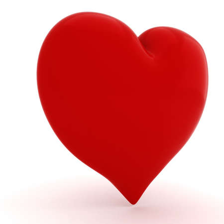 3d red heart on white background Stock Photo - 11782021