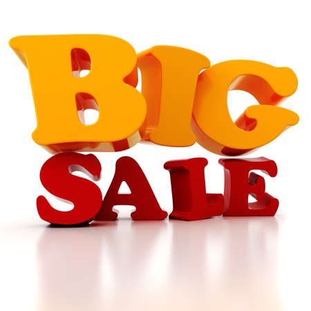 big sale: 3d Sale text, on white background Stock Photo