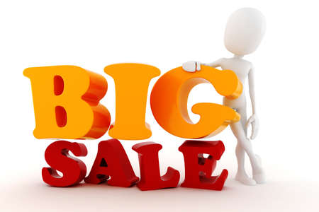 3d man and Big Sale text photo