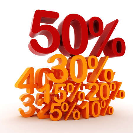 3D percent numbers on white background photo