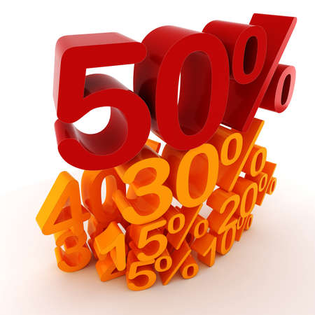 percentage sign: 3D percent numbers on white background