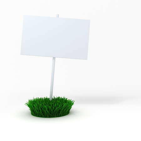 3d blank board on a patch of green fresh grass photo