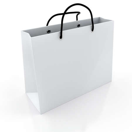 closeup on bags: 3d empty shopping bag, on white background