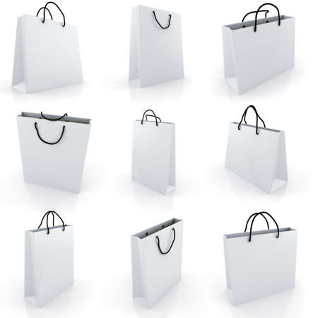 3d empty shopping bag, on white background photo