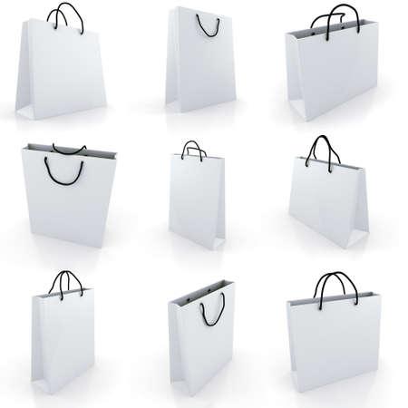 3d empty shopping bag, on white background photo