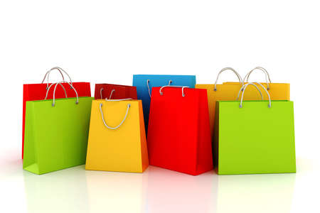 3d empty shopping bag, on white background Stock Photo - 11909572