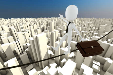 precipitate: 3d man businessman in equilibrium on a thin rope