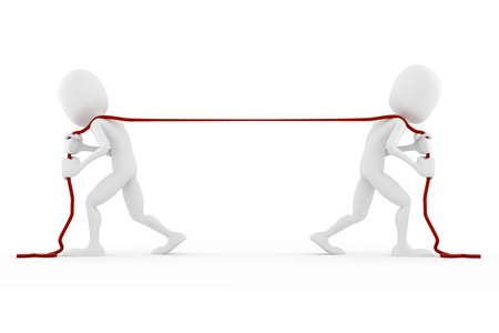 business rival: 3d hombre tirando de una cuerda, en el fondo blanco