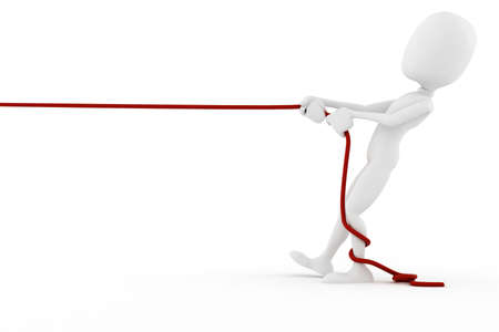 3d man pulling a rope, on white background photo