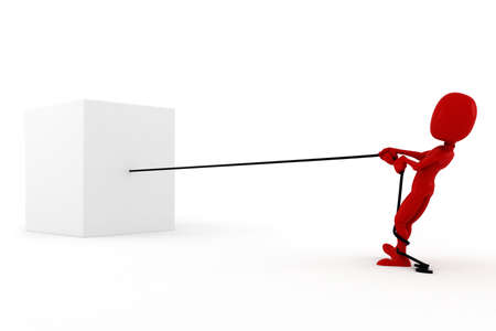 rival: 3d man pulling a rope, on white background