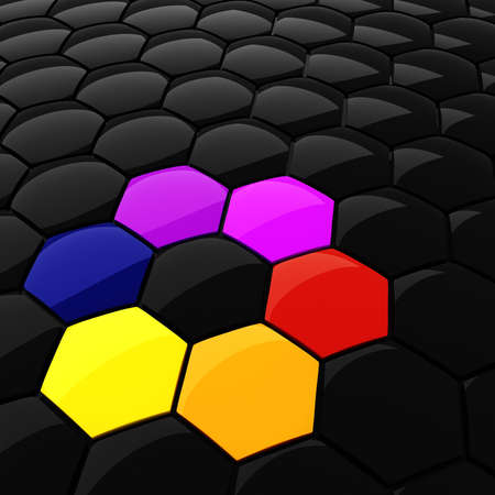 3d colorful hexagonal puzzle pieces photo