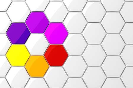 3d colorful hexagonal puzzle pieces Stock Photo