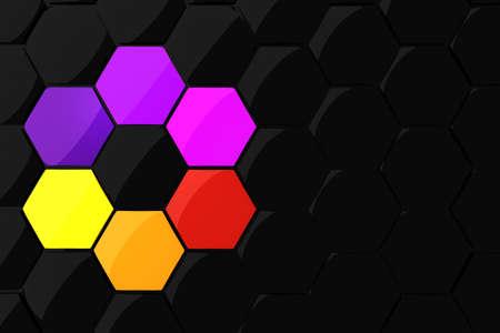 3d colorful hexagonal puzzle pieces photo