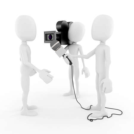 film production: 3d man reporter - interview