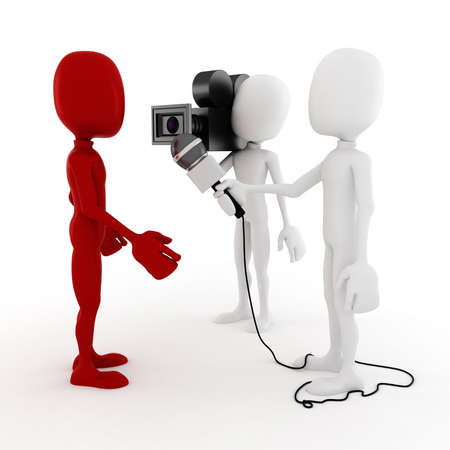 to interview: 3d man reporter - interview