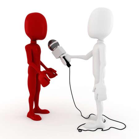 business interview: 3d man reporter - interview