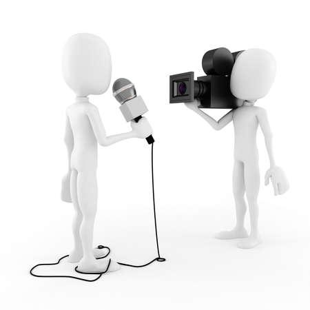 entrevista: Reportero de hombre 3d - entrevista Foto de archivo