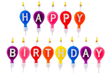 candle flame: colorful candles happy birthday Stock Photo