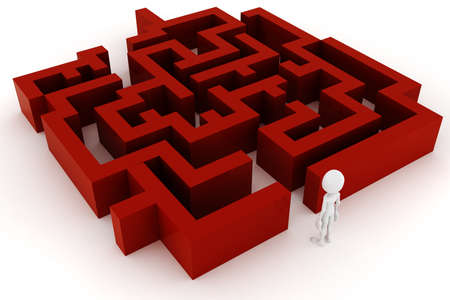 journey problems: 3d man and a maze, on white background