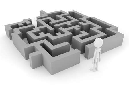 3d man and a maze, on white background Stock Photo - 12385048