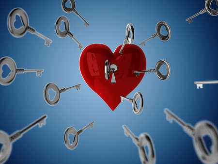 3d key and heart, Valentine Concept Stock Photo - 12385053