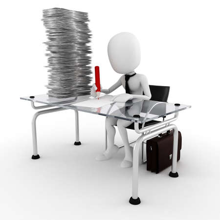 white color worker: 3d man business man working hard Stock Photo
