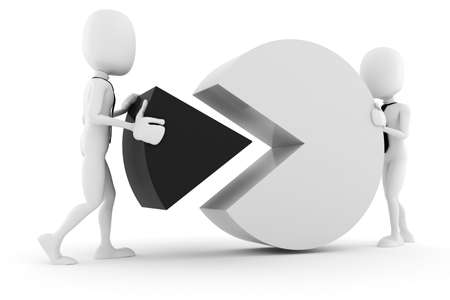 3d man and pie chart, on white background photo