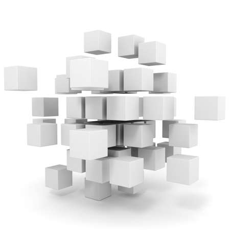 3d cubes puzzle on white background photo