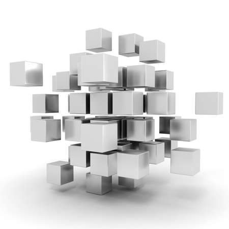 abstract 3d blocks: 3d cubes puzzle on white background