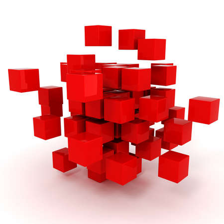 cube puzzle: 3d cubes puzzle on white background