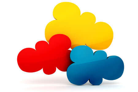 3d colorfull cloud shape of bubble talk photo
