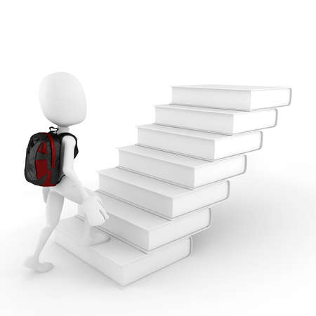 3d man and a  stair made of books Stock Photo - 12840597