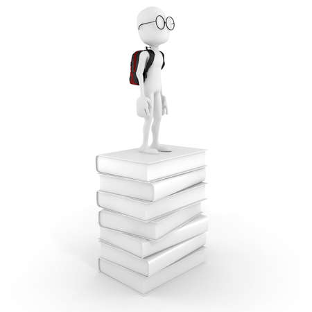 t ski: 3d man on a pile of books
