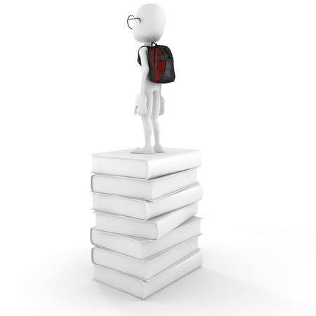 3d man on a pile of books Stock Photo - 12840594