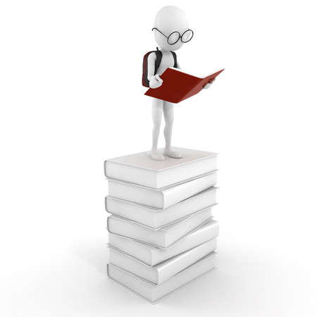 3d man on a pile of books Stock Photo - 12840596
