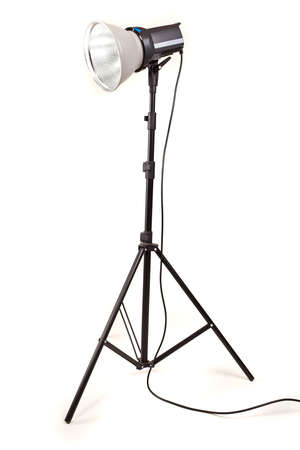 studio monoblock flash light on tripod isolated on white background Stock Photo - 13010054
