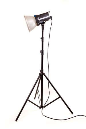 studio monoblock flash light on tripod isolated on white background Stock Photo - 13010052