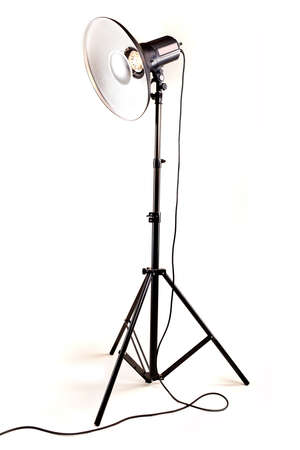 monolight: studio monoblock flash light on tripod isolated on white background Stock Photo