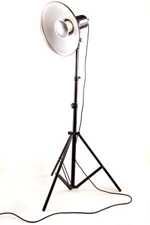 studio monoblock flash light on tripod isolated on white background Stock Photo - 13010058