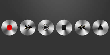 3d shiny metallic media player buttons photo