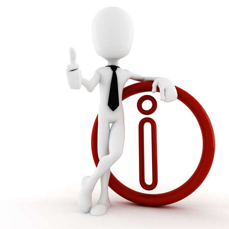 cgi: 3d man and info symbol Stock Photo