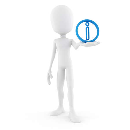 humanoid: 3d man and info symbol Stock Photo