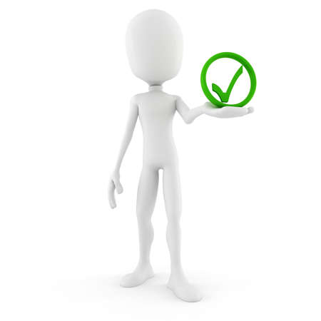 cgi: 3d man and approved icon Stock Photo
