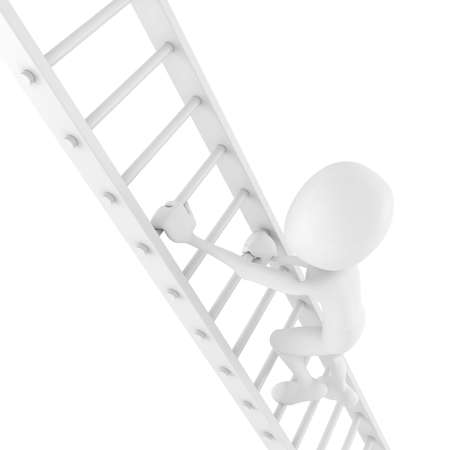 3d man climbing on a ladder photo