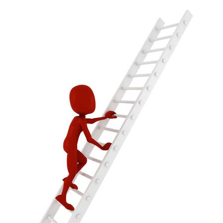 climbing ladder: 3d man climbing on a ladder Stock Photo